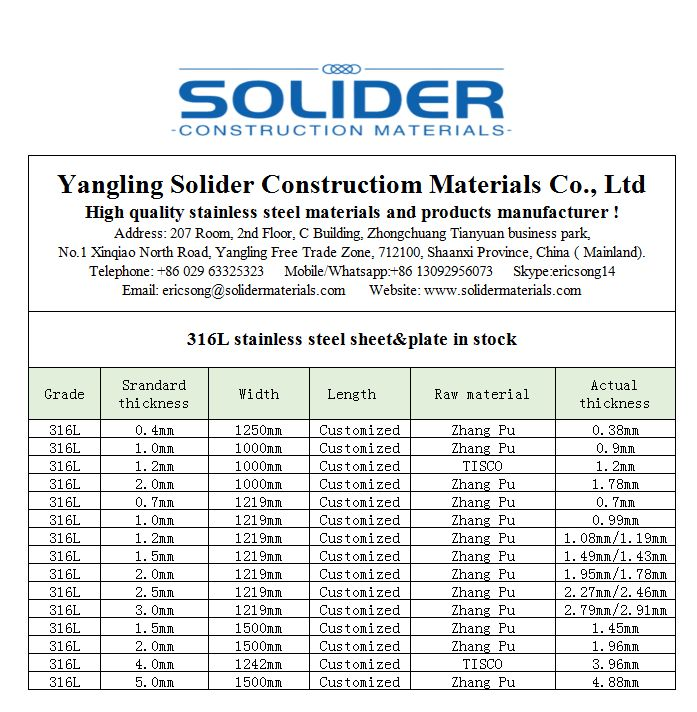 Solider supply grade 316L cold rolled stainless steel
