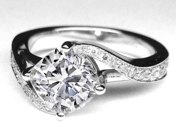 Cushion Diamond Swirl Engagement Ring  - ES1155