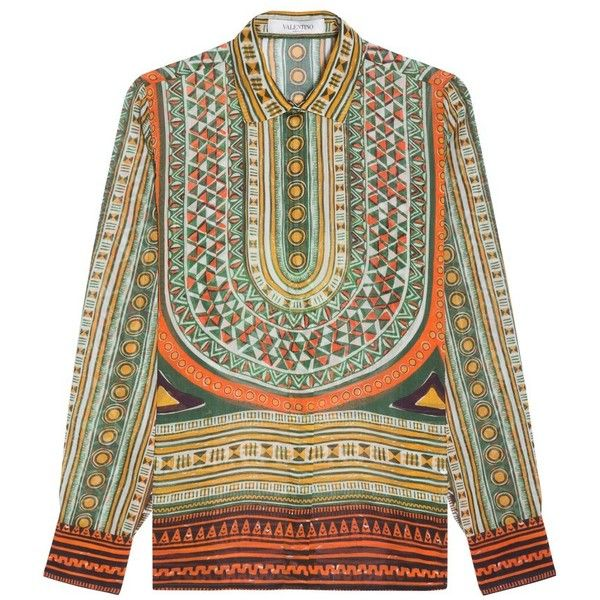 Valentino Long Sleeve Tribal Shirt ($1,802) ❤ liked on Polyvore featuring tops, shirts, long-sleeve shirt, african shirts, shirt top, african tops and tribal print shirt