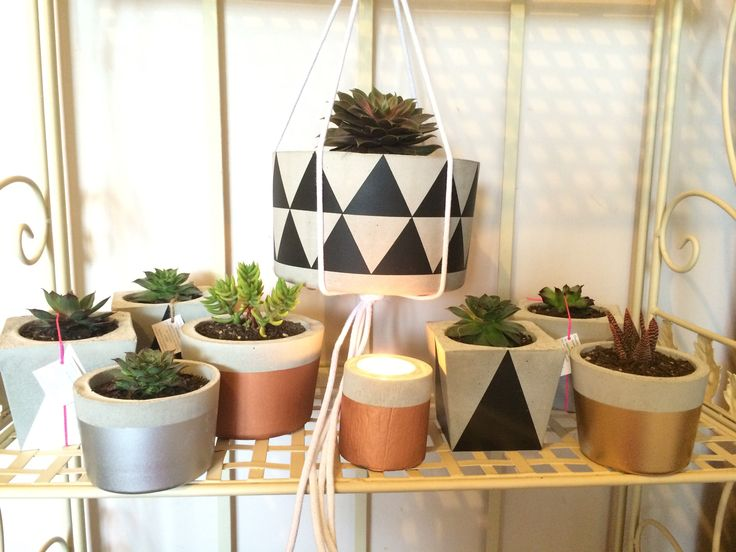 Handmade concrete planters & Tealight holders