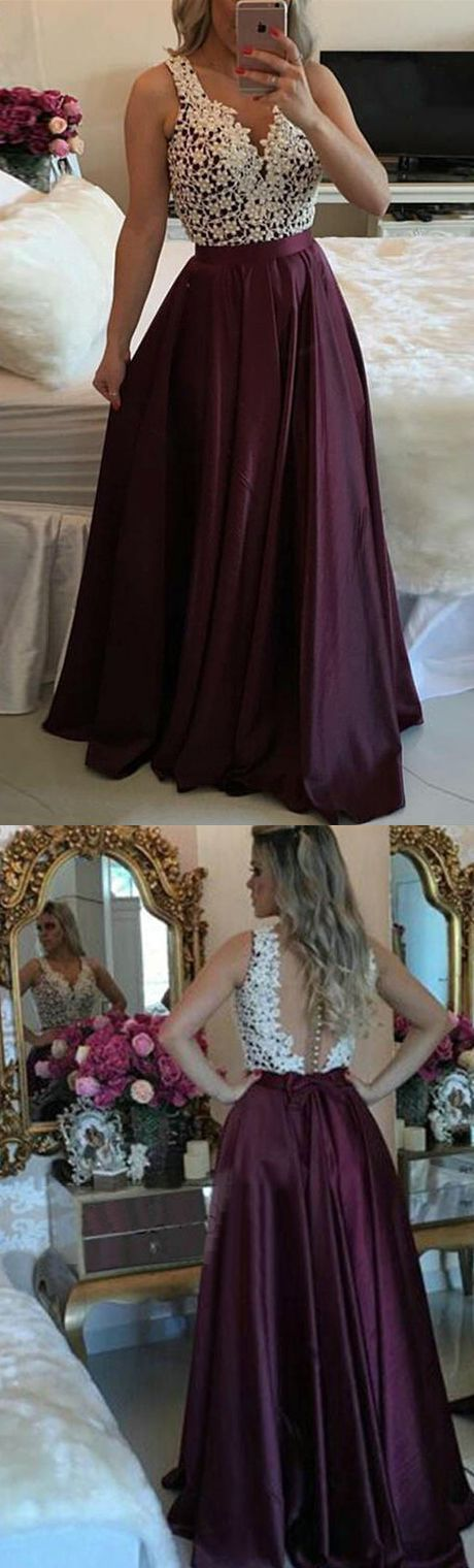 Hot-Selling A-Line V-Neck Burgundy Long Prom Dress with Appliques