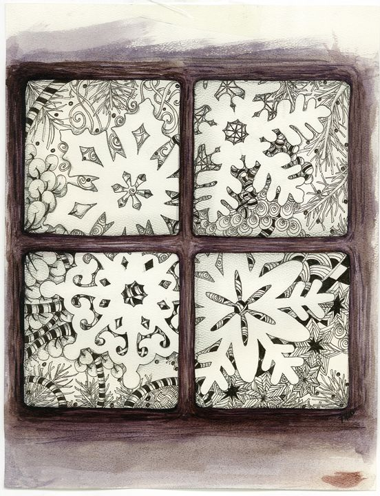 [12] Snowflakes Toni Henneman, CZT, created this original Zentangle inspired art for her family's Christmas card.