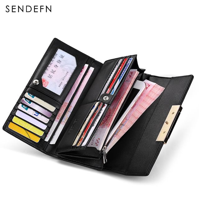 Hot Deals $21.21, Buy Hot Sale Fashion Split Leather Long Fashion Wallet Women Wallets Designer Brand Clutch Purse Lady Wallet Female Card Holder