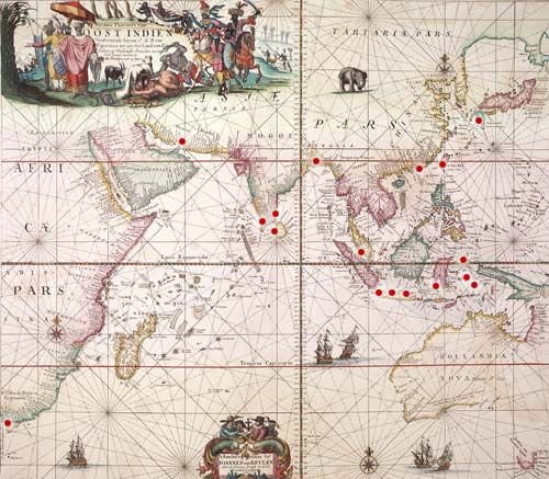 Over the seas with the VOC (Dutch East India Company). This is a map showing the main trading posts under the control of the Amsterdam branch of the VOC in 1689.