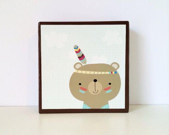 Little Indian Brown Bear Art Block by WoodlingsArt on Etsy, $15.00