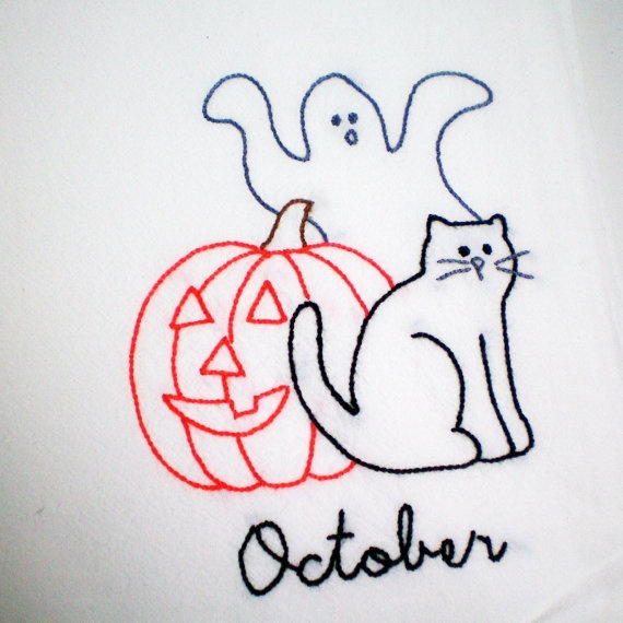 Hand Embroidered Dish Towel October Happy Halloween by ...