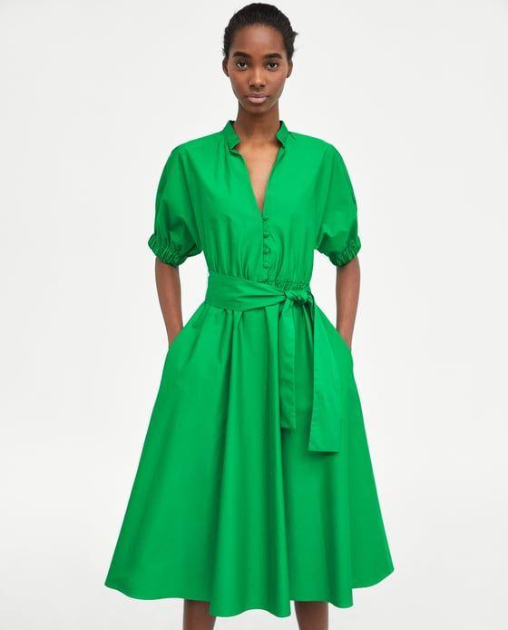 изображение 2 из платье миди с объемными рукавами от Zara Vestido Midi Vestidos Camiseros Ropa