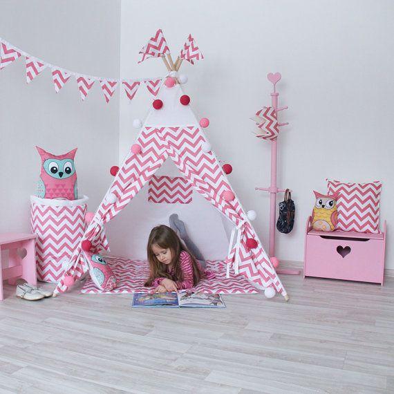 READY TO SHIP! Pink Zigzag Chevron Teepee, Play Tent, Play House, Nursery, Teepee Tent, Kids Teepee, Wigwam, Indoor