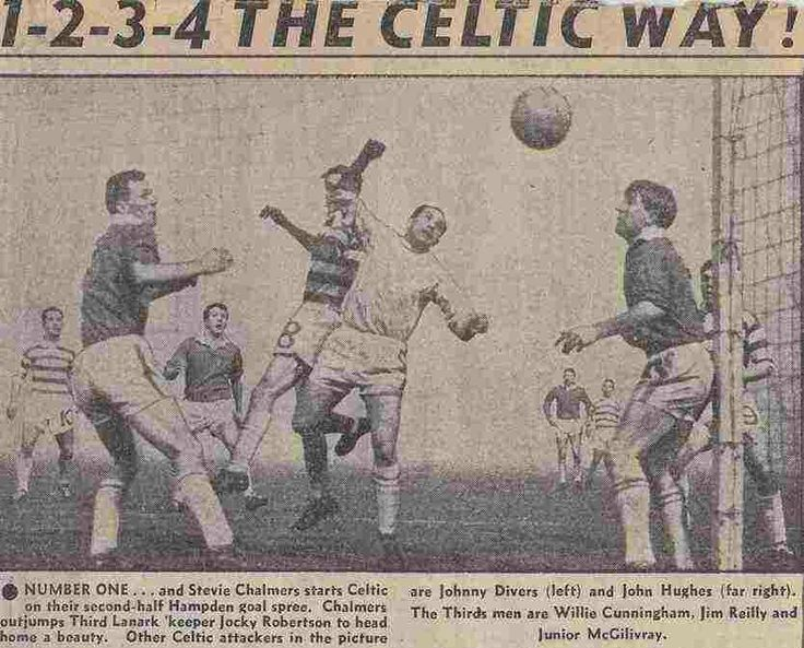 Celtic 4 Third Lanark 4 in March 1962 at Parkhead. Stevie Chalmers pulls a goal back for Celtic and its 2-3 in the Scottish Cup Quarter Final.