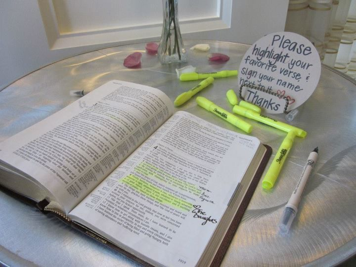 Beautiful and truly the most wonderful idea ever seen at a wedding, highlight your favorite verse of scripture, and write your name on it for the bride and groom! I'm so doing this!