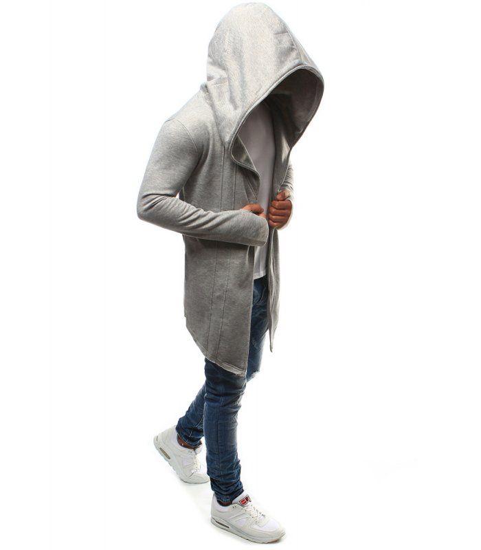 Pánska šedá pelerína s kapucňou