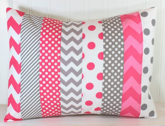 Throw Pillow Cover - Nursery Cushion Cover - 12 x 16 Inches - Pink and Gray Chevron