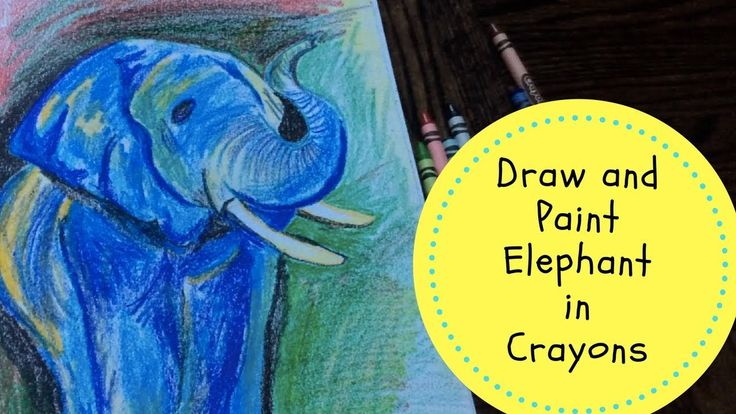 Elephant in Crayons | How to draw/ paint elephant with Crayons