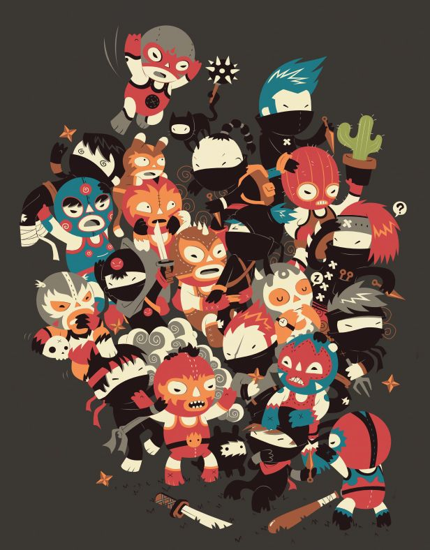 Ninjas vs Luchadores by ~DjBisparulz on deviantART