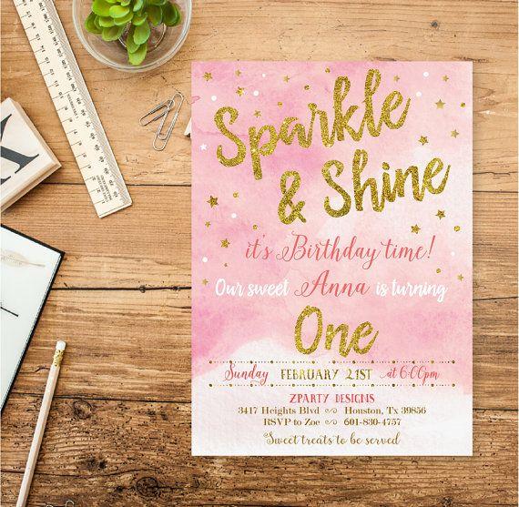 Gold Girl Birthday Invitation Sparkle Birthday Invitations