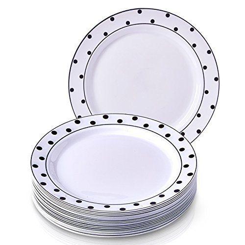 Charmant Pois Collection Blanc avec Noir à pois jetables plaque ronde Dinnerware- Heavyweight Plastique 26cm Round Assiettes Plates