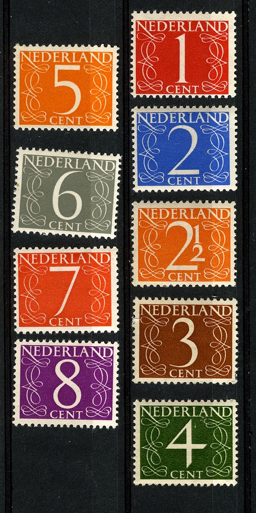 Definitive stamp series from the Netherlands, designed by Jan van Krimpen (1940-1950s); these stood alongside the first series of Juliana's portrait bust, which were somewhat similar (but nowhere near as long-lasting) as Britain's famous Machin definitives of Elizabeth II.
