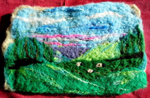 Sunrise in the mountains    ,Beautiful large needle felt landscape. - Another one of Hobbiton