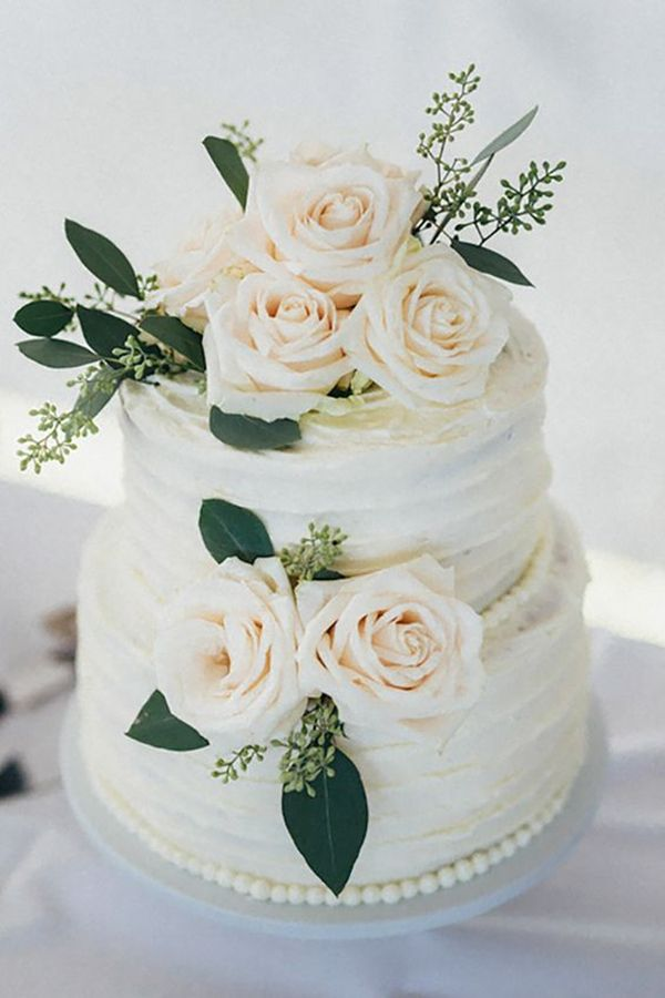 green blush and white wedding cake ideas