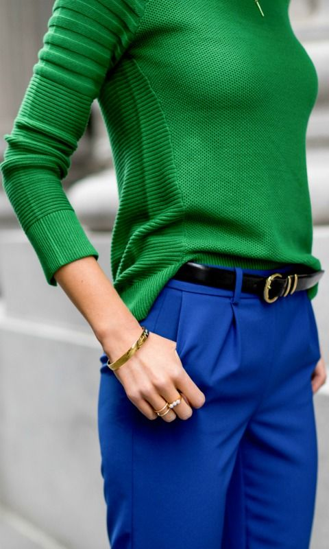kelly green mixed rib knit sweater with cobalt blue track pants