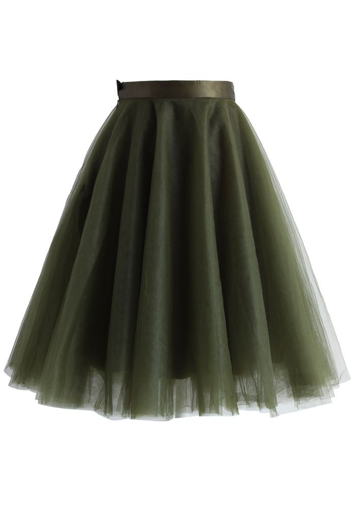 Amore Mesh Tulle Skirt in Olive - New Arrivals - Retro, Indie and Unique Fashion