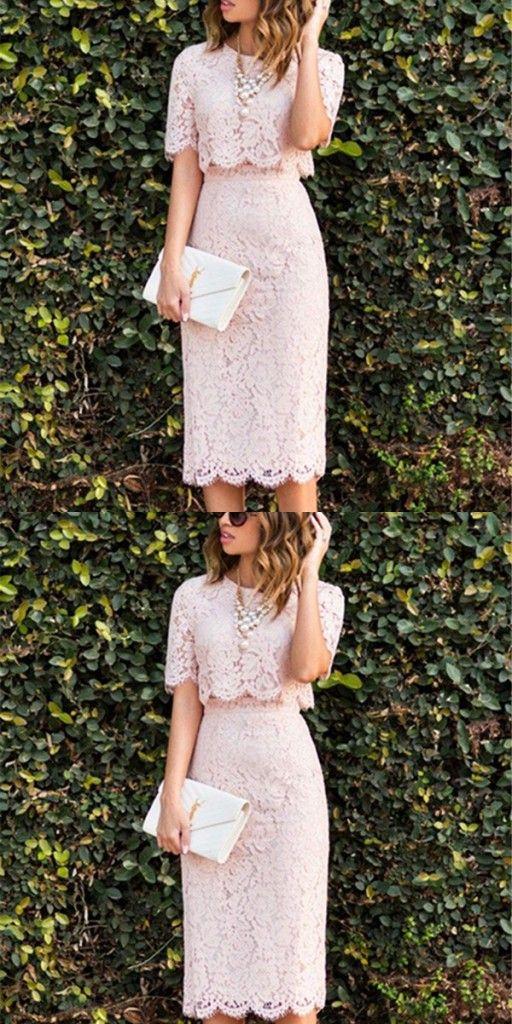 rosa abiballkleider kurz spitze 2 teiler knielang abendmoden