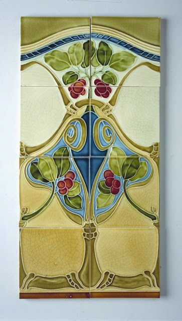 1855 best images about traditional tile on pinterest for Art nouveau tile mural