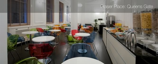 Fraser Place Queens Gate: self catering accommodation in London; serviced apartments; London corporate accommodation; short term accommodation in London; London business hotel; child friendly hotels in London.