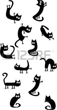 Conjunto de gatos divertidos
