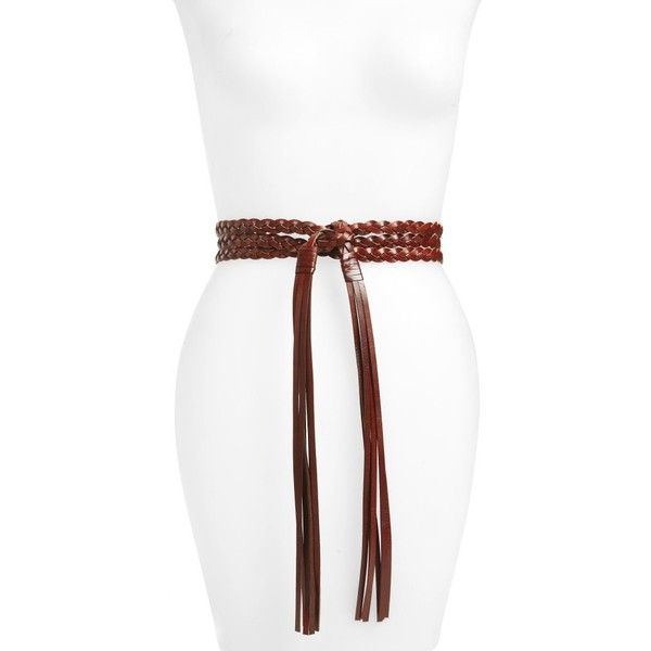Women's Rebecca Minkoff Braided Leather Wrap Belt (3,090 INR) ❤ liked on Polyvore featuring accessories, belts, luggage, fringe belts, woven belt, braided belts, rebecca minkoff and boho belt
