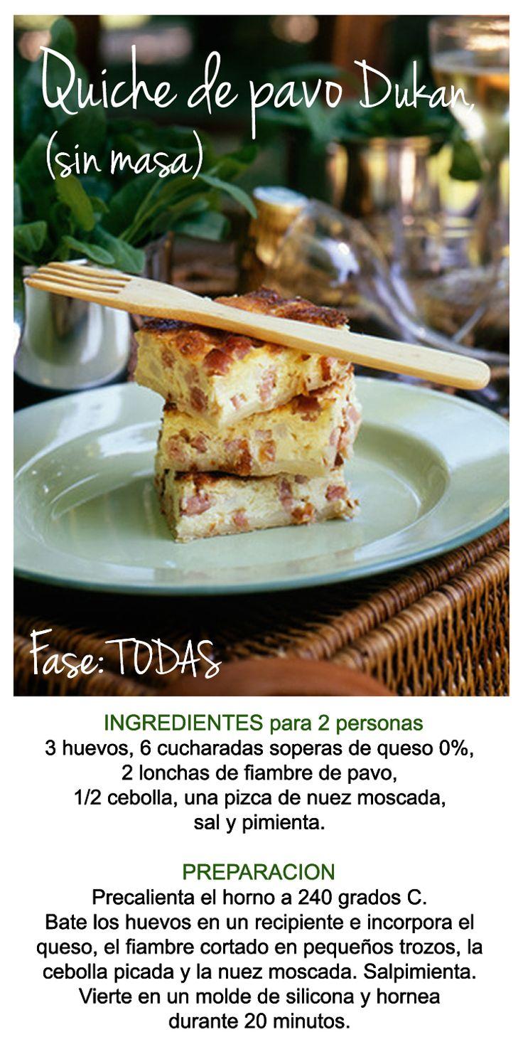 Recetas Dukan: Quiche de Pavo sin masa, lista en 20 minutos. Apta desde la fase 1 de la dieta  #Dieta #Dukan #Recetas #lowcarb