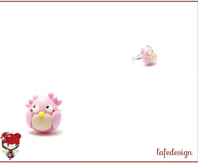 Anello gufo rosa, via Flickr.