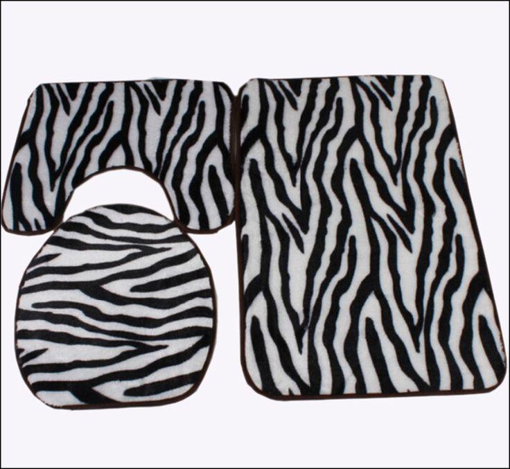 Zebra Bathroom Rug Set