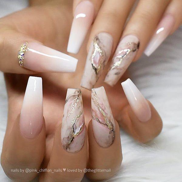 ✨ French Ombre, Glitter Marble und Kristalle auf langen Sargnägeln