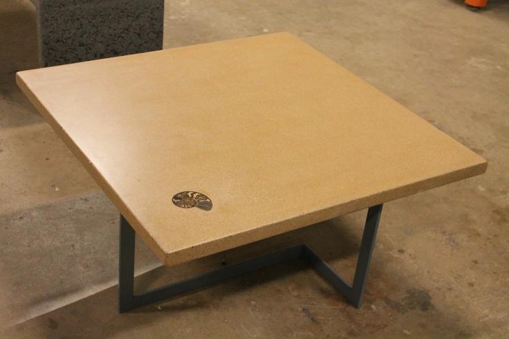 Concrete Table With Fossil By Zona Decorative Concrete Concrete Furniture