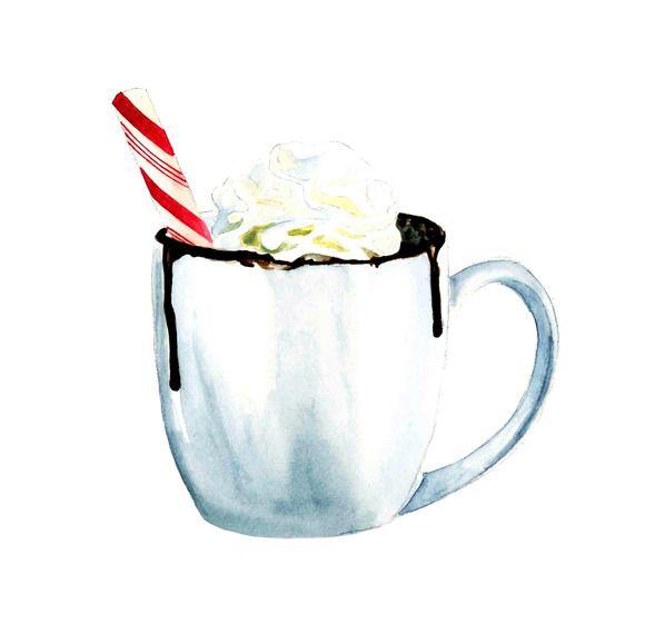 watercolour hot chocolate illustrati on @creativework247