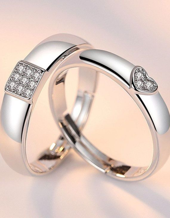 925 Sterling Silver White Gold Couple Ring Cubic Zircon