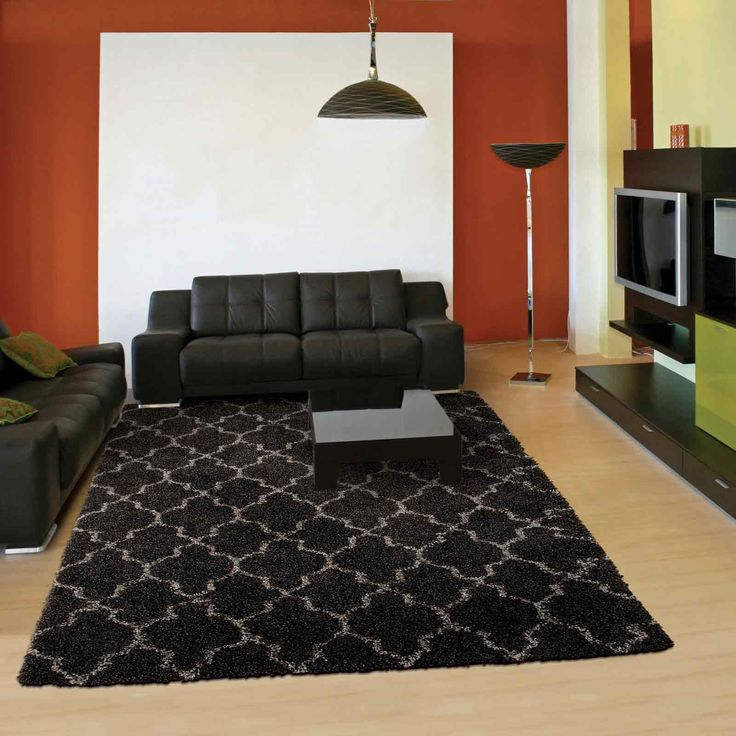 The Charcoal Rug has a trellis design