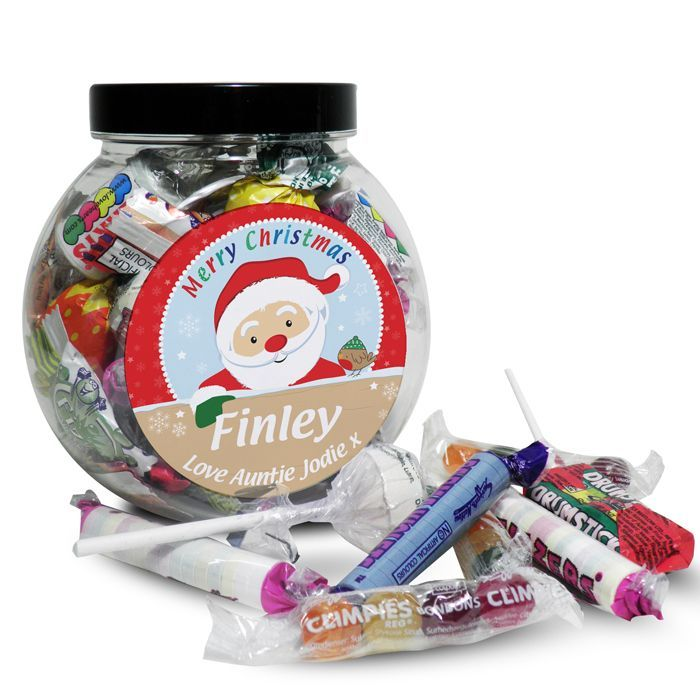 Personalised Santa Sweet Jar What could be better than a jar of scrumptious sweets this Christmas from Creative Gifts uk