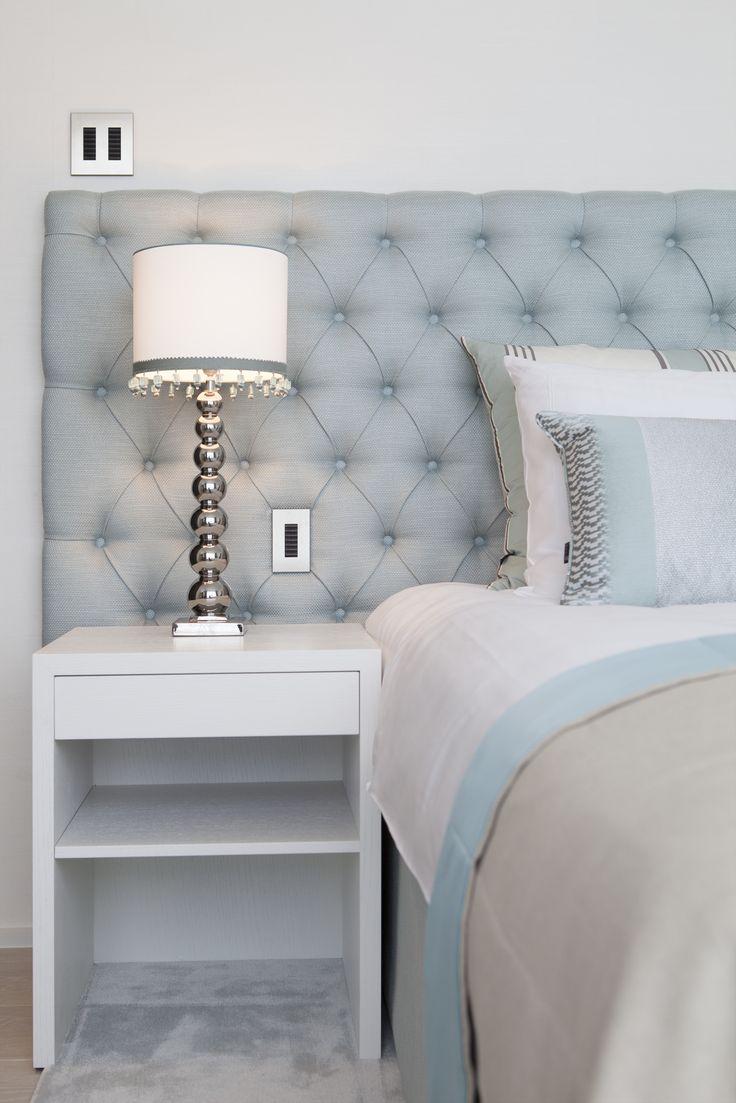 Byron & Jones - Bedroom - Headboars - Lightning - Nightstand - Cushions - Carpet - Light Blue - White - Trimming