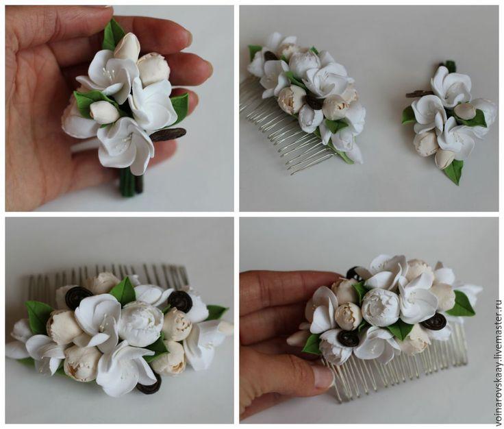 Купить Гребень и бутоньерка с пионами и жасмином - белый, жасмин, пион, гребень, гребешок для волос