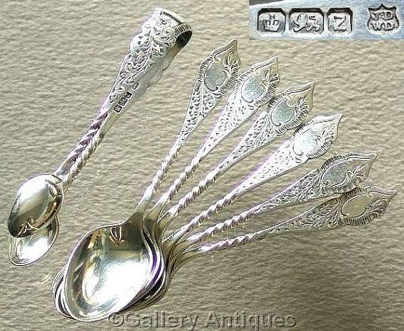 Set of Victorian / Art Nouveau 925 Sterling Solid Silver Tea Spoons and Sugar Tongs by James Deakin & Sons HM for Sheffield 1892 by GalleryAntiques