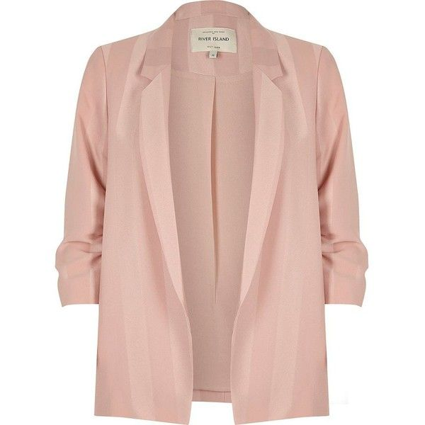River Island Light pink stripe ruched sleeve blazer (£87) ❤ liked on Polyvore featuring outerwear, jackets, blazers, coats / jackets, pink, women, stripe blazer, striped blazer, slim fit jackets and pink jacket
