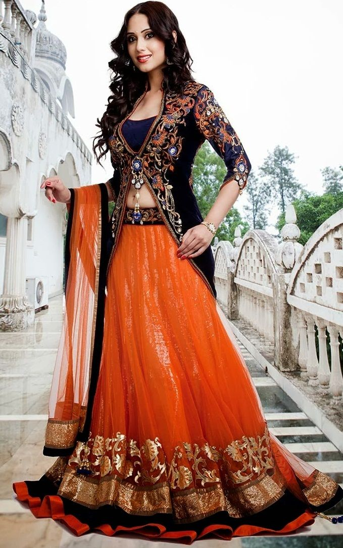 Orange & Dark Blue Coloured Lehenga Choli