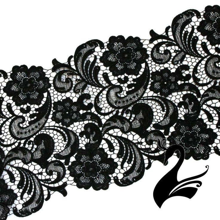 Lace Guipure Style with Floral Swirls (Price per 50cm) - Black - Craft Millinery