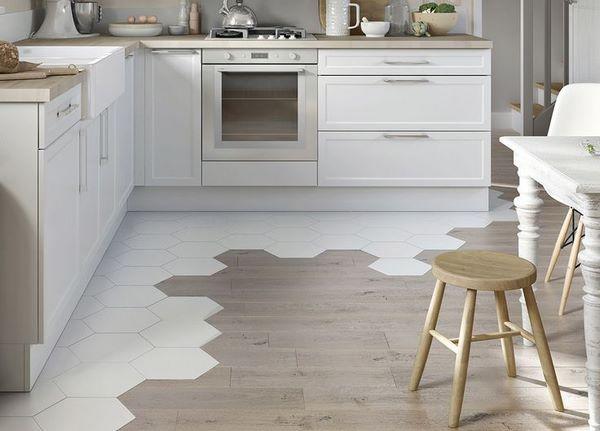 Combined Kitchen Flooring Hexagon Tiles Creative Design Ideas Kitchen Interiors Flooring Flooring Trends Kitchen Flooring
