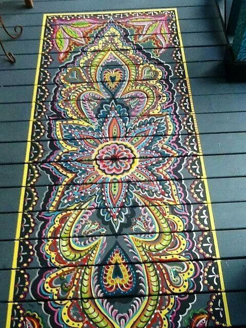 Painted on gypsy rug for your porch