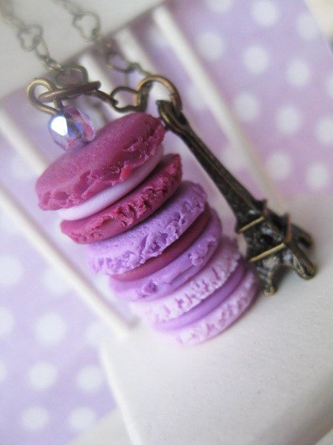 Macaroon Tower _ Shades of Purple _ with Eiffel Tower Bronze Necklace_ 1/12 Dollhouse Scale Miniature Food _ Polymer Clay _ Foodie Gift by MarisAlley on Etsy