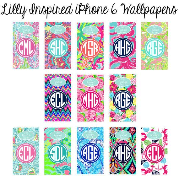 Lilly Inspired iPhone 6 Monogram Wallpaper by PaintedPeachStudio
