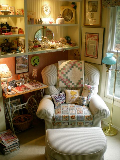From SweetPea-Labellavie:  Welcome to my sewing and craft room, I won a contest for this sweet little space. Come on by and see the rest of it!